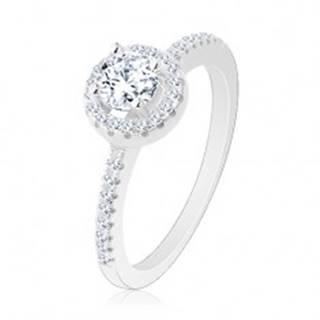 Zásnubný prsteň, striebro 925, okrúhly číry zirkón s ligotavou kontúrou R26.26 - Veľkosť: 48 mm