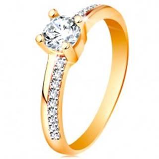 Zlatý prsteň 585 s trblietavými líniami a čírym zirkónom v kotlíku - Veľkosť: 49 mm
