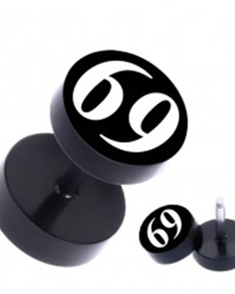 """Čierny okrúhly fake piercing do ucha z ocele s číslom """"69"""""""