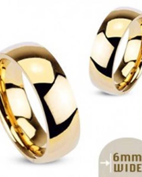 Kovový prsteň - hladká lesklá obrúčka zlatej farby  - Veľkosť: 48 mm