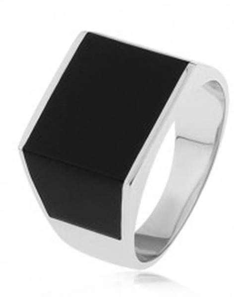 Lesklý prsteň zo striebra 925, obdĺžnik a lichobežníky s čiernou glazúrou  S74.19 - Veľkosť: 54 mm