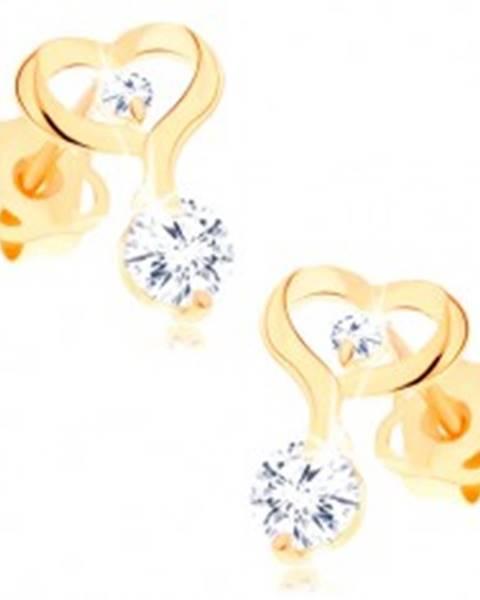 Náušnice zo žltého 14K zlata - kontúra srdca s predĺženou líniou, číre zirkóny