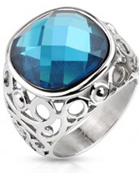 Oceľový prsteň, ramená zdobené filigránom, modrý brúsený kameň S83.09 - Veľkosť: 49 mm