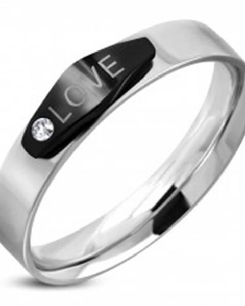 Oceľový prsteň striebornej farby, čierny ovál s nápisom LOVE a zirkónom K02.10 - Veľkosť: 49 mm