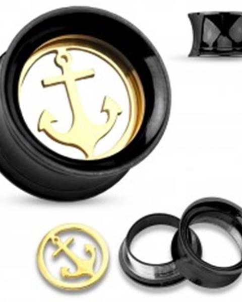 Oceľový tunel do ucha čiernej farby s lesklou kotvou v zlatom odtieni v strede - Hrúbka: 10 mm