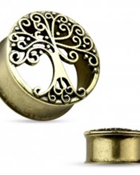 Oceľový tunel do ucha zlatej farby, vyrezávaný košatý strom, čierna patina - Hrúbka: 10 mm