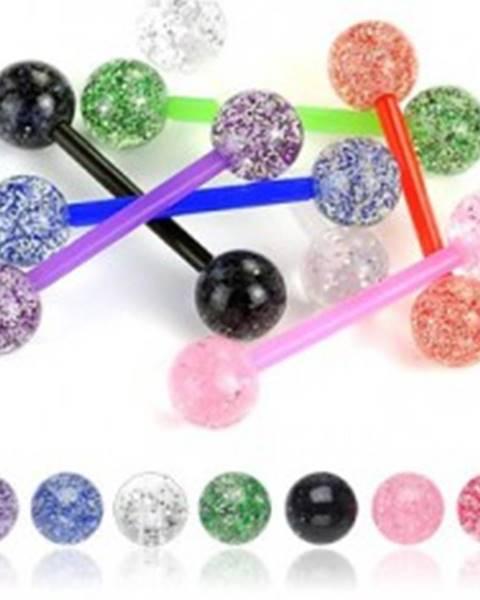 Piercing do jazyka gulička glitre - Farba piercing: Červená