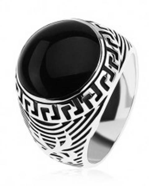 Prsteň zo striebra 925, čierny glazúrovaný kruh, ornament gréckeho kľúča SP40.24 - Veľkosť: 54 mm