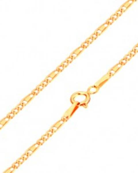 Retiazka v žltom 14K zlate - oválne a podlhovasté očká, obdĺžnik, 440 mm