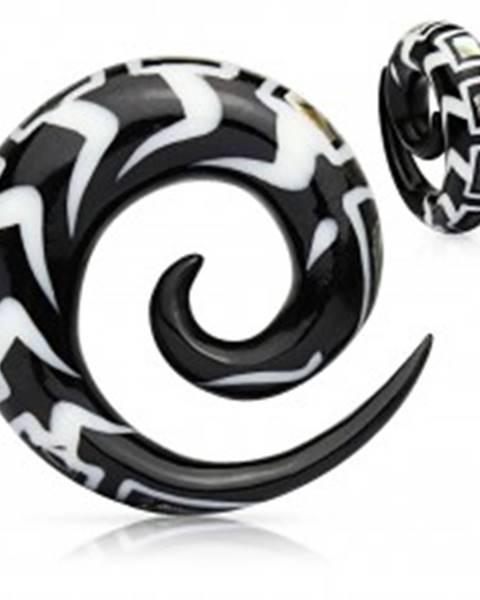 Špirálový vzorovaný expander do ucha z organického materiálu, úlomky mušle - Hrúbka: 10 mm