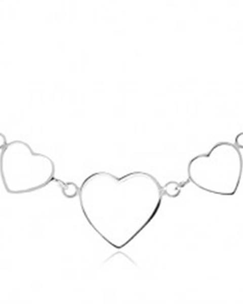 Strieborný 925 náhrdelník - tri kontúry symetrických sŕdc, retiazka