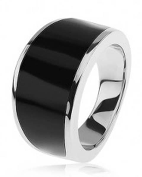 Strieborný 925 prsteň - čierny glazúrovaný pás, lesklý a hladký povrch SP40.28 - Veľkosť: 54 mm