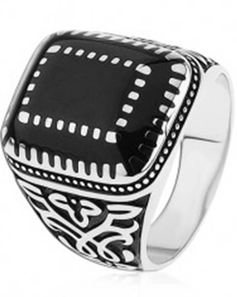 Strieborný prsteň 925, ornamenty na ramenách, obdĺžniky s čiernou glazúrou - Veľkosť: 54 mm