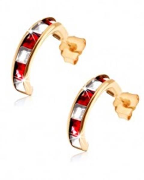 1003d4bd0 Zlaté náušnice 375 - polkruhy so syntetickými červenými rubínmi a čírymi  zirkónmi GG52.16
