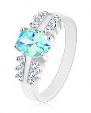 Ligotavý prsteň z ocele, číre zirkónové línie, oválny farebný zirkón R28.5 - Veľkosť: 48 mm, Farba: Oranžová