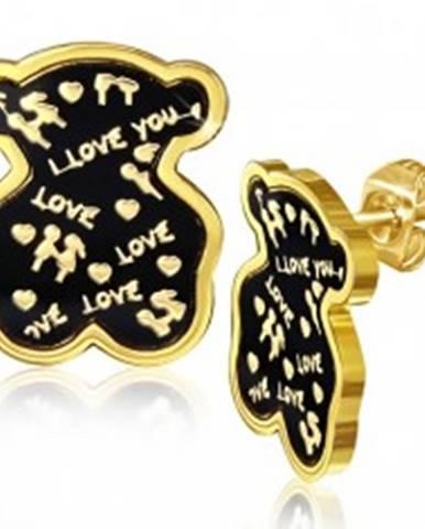 Oceľové náušnice, medvedík, vyznanie lásky, glazúra AA14.27