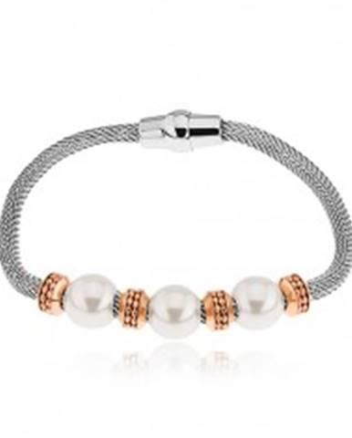Oceľový náramok, kolieska v medenom odtieni, korálky s perleťovým leskom S83.11