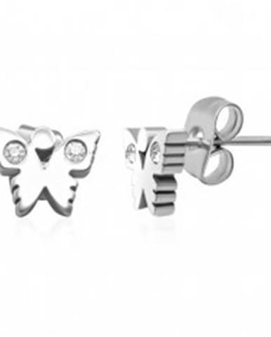 Puzetové oceľové náušnice - motýlik so zirkónovými krídlami X07.18