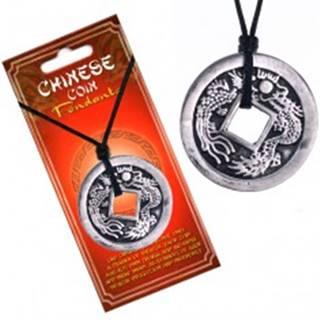 Čierny náhrdelník, čínska minca s patinou, znaky a dva draky