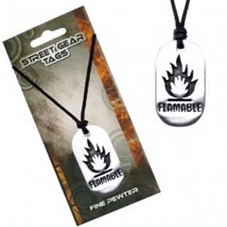 Čierny náhrdelník, kovová lesklá známka, symbol horľaviny