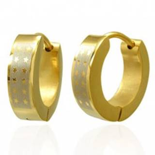 Lesklé okrúhle oceľové náušnice - zlatý odtieň, pás striebornej farby s hviezdami