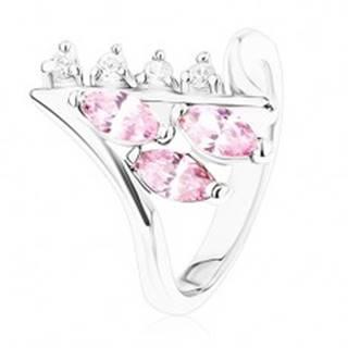 Lesklý prsteň striebornej farby, zahnuté konce ramien, číre a ružové zirkóny - Veľkosť: 49 mm