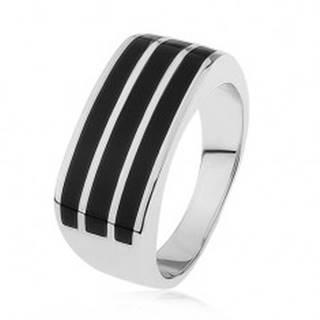 Lesklý strieborný prsteň 925, tri vodorovné pásy s čiernou glazúrou S83.05 - Veľkosť: 54 mm