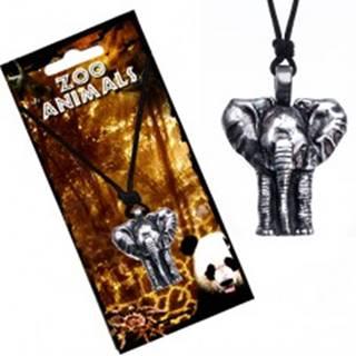 Náhrdelník na šnúrke, patinovaný prívesok slona