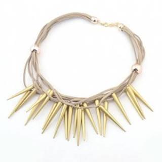 Náhrdelník z hnedých koženkových šnúrok a špicatých kužeľov zlatej farby V10.30