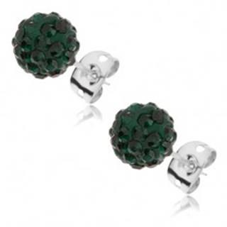 Náušnice z ocele 316L - smaragdovozelené guľôčky so zirkónmi, 8 mm