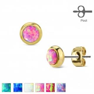 Náušnice z ocele 316L zlatej farby s okrúhlym syntetickým opálom - Farba: Biela