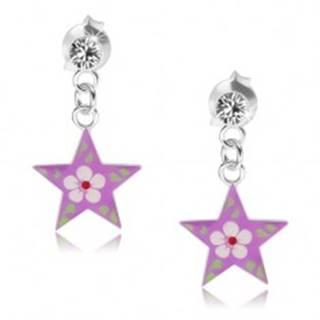Náušnice zo striebra 925, číry krištálik, fialová hviezda s farebným kvetom