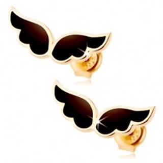 Náušnice zo žltého 14K zlata - dvojica anjelských krídel, čierna glazúra