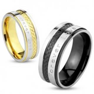 """Obrúčka z ocele strieborno-zlatej farby, šachovnicový vzor, """"Forever Love"""", 6 mm S74.17 - Veľkosť: 49 mm"""