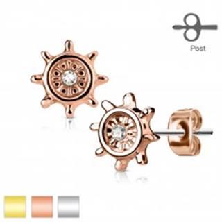 Oceľové náušnice, kormidlo zdobené čírym zirkónom, puzetky - Farba: Medená