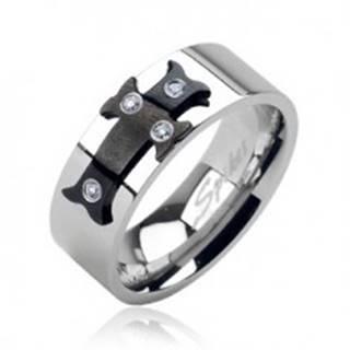 Oceľový prsteň čierny kríž, zirkóny - Veľkosť: 59 mm