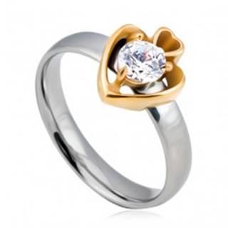 Oceľový prsteň, kruh striebornej farby a dve srdcia zlatej farby so zirkónom - Veľkosť: 49 mm