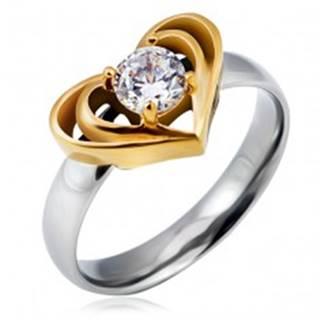 Oceľový prsteň striebornej farby s dvojitým srdcom zlatej farby, číry zirkón - Veľkosť: 49 mm