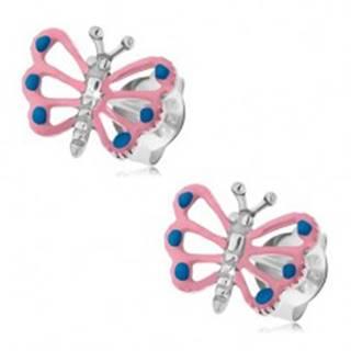 Patinované náušnice, striebro 925, motýlik so svetloružovými krídlami, výrezy