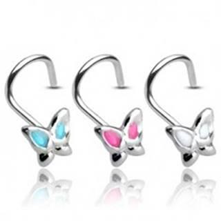 Piercing do nosa zo striebra 925 - motýlik s glazúrovanými krídelkami - Farba piercing: Aqua