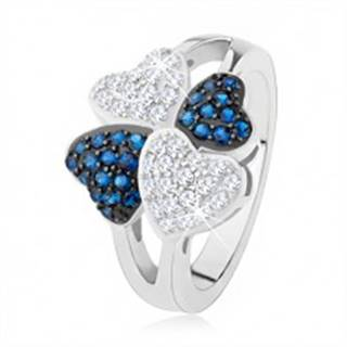 Prsteň zo striebra 925, štyri srdiečka - drobné číre a modré kamienky SP38.26 - Veľkosť: 50 mm