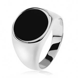 Prsteň zo striebra 925, zrkadlovolesklé ramená, čierny glazúrovaný kruh S82.10 - Veľkosť: 54 mm