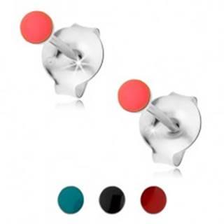 Puzetové náušnice, striebro 925, okrúhla hlavička pokrytá farebnou glazúrou - Farba: Červená