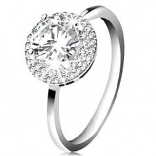 Ródiovaný prsteň, striebro 925, okrúhly zirkón čírej farby, ligotavý lem K02.09 - Veľkosť: 49 mm