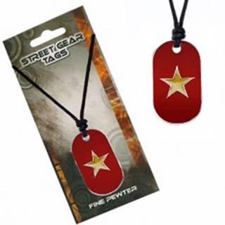 Šnúrkový náhrdelník s farebnou známkou a hviezdou