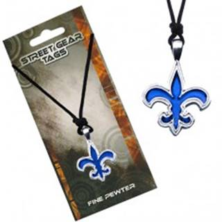 Šnúrkový náhrdelník s modrým príveskom Fleur de Lis