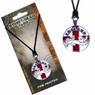 Šnúrkový náhrdelník s príveskom, anglická vlajka s levom