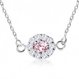 Strieborný náhrdelník 925, ružový zirkónový ovál lemovaný čírymi kamienkami