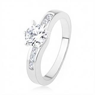 Strieborný prsteň 925, okrúhly číry zirkón, zdobené ramená prsteňa SP39.06 - Veľkosť: 50 mm