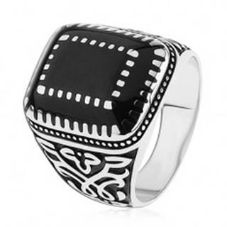 Strieborný prsteň 925, ornamenty na ramenách, obdĺžniky s čiernou glazúrou S75.20 - Veľkosť: 54 mm